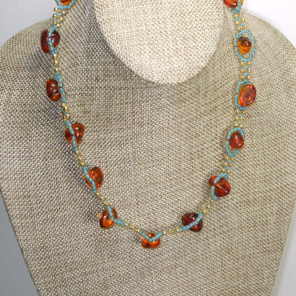 Jewelry by Sande Gene / Amber and Turquoise Necklace