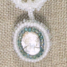 Load image into Gallery viewer, Sabine Bead Embroidery Cameo Pendant Necklace pin up view