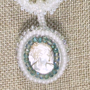 Sabine Bead Embroidery Cameo Pendant Necklace pin up view