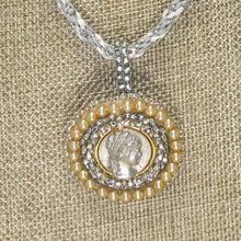 Load image into Gallery viewer, Tabitha Beaded Cameo Pendant Necklace front blow up view