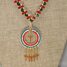 Load image into Gallery viewer, Erina Hoop Fringe Pendant Necklace front close view
