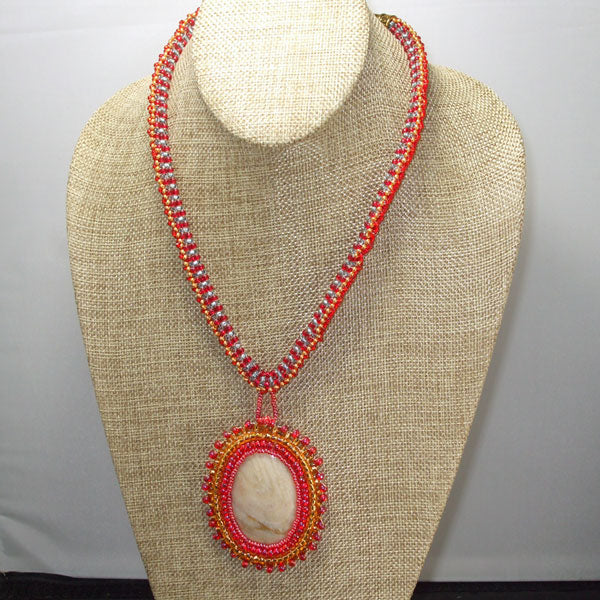 Dacil Beaded Cabochon Pendant Necklace