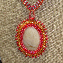 Load image into Gallery viewer, Dacil Bead Embroidery Cabochon Pendant Necklace front close view