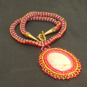 Dacil Bead Embroidery Cabochon Pendant Necklace flat view