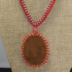 Dacil Bead Embroidery Cabochon Pendant Necklace back view