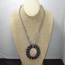 Load image into Gallery viewer, Eadda Beaded Fossilized Coral Cabochon Necklace relevant view