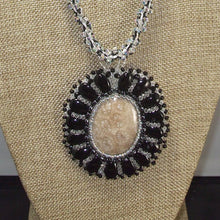 Load image into Gallery viewer, Eadda Beaded Fossilized Coral Cabochon Necklace front blow up view