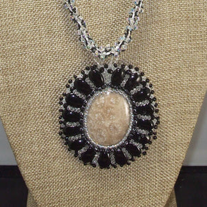 Eadda Beaded Fossilized Coral Cabochon Necklace front blow up view