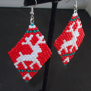 Mabel Christmas Reindeer Earrings close view
