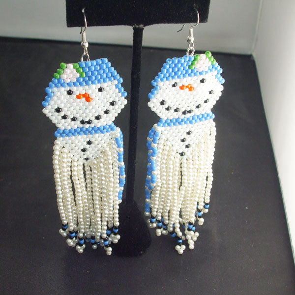 Ugolina Christmas Snowman Fringe Earrings relevant view