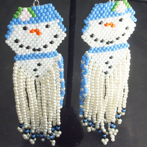 Ugolina Christmas Snowman Fringe Earrings blow up view