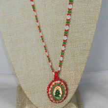 Load image into Gallery viewer, Quaashie Christmas Cabochon Pendant Necklace front blow up view