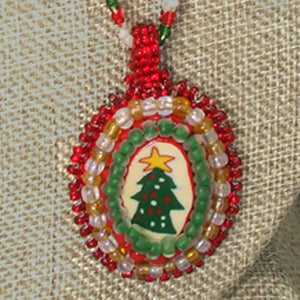 Quaashie Christmas Cabochon Pendant Necklace pin up view