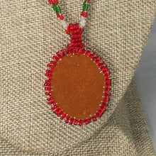 Load image into Gallery viewer, Quaashie Christmas Cabochon Pendant Necklace back view
