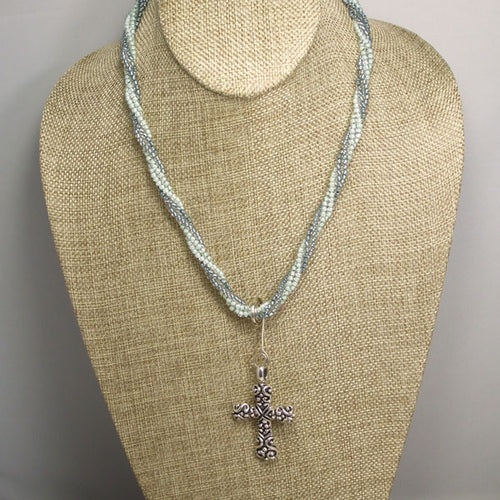 Badia Charm Cross Pendant Necklace front relevant view