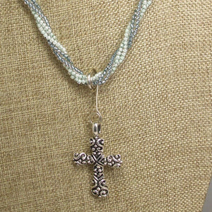 Badia Charm Cross Pendant Necklace front bugs eye view