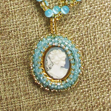 Load image into Gallery viewer, Cabeza Cameo Charm Pendant Necklace front bug eye view