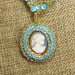 Cabeza Cameo Charm Pendant Necklace front bug eye view
