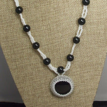 Load image into Gallery viewer, Earlene Beaded Cabochon pendant Necklace front blow up view