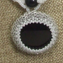 Load image into Gallery viewer, Earlene Beaded Cabochon pendant Necklace front pin up view