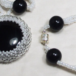 Earlene Beaded Cabochon pendant Necklace clasp view