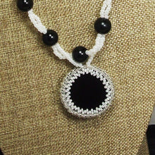 Load image into Gallery viewer, Earlene Beaded Cabochon pendant Necklace back blow up view