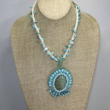 Load image into Gallery viewer, Dacey Bead Embroidery Chrysocolla Pendant Necklace relevant view