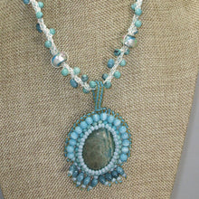 Load image into Gallery viewer, Dacey Bead Embroidery Chrysocolla Pendant Necklace front close view