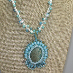 Dacey Bead Embroidery Chrysocolla Pendant Necklace front close view
