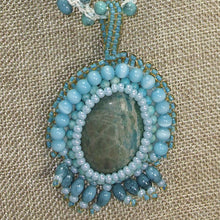 Load image into Gallery viewer, Dacey Bead Embroidery Chrysocolla Pendant Necklace bug eye view