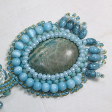 Load image into Gallery viewer, Dacey Bead Embroidery Chrysocolla Pendant Necklace close flat view