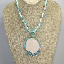 Load image into Gallery viewer, Dacey Bead Embroidery Chrysocolla Pendant Necklace back view