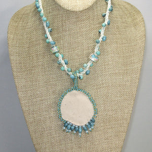 Dacey Bead Embroidery Chrysocolla Pendant Necklace back view