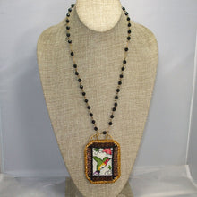 Load image into Gallery viewer, Caethes X-stitch Bead Embroidery Pendant Necklace front relevant view