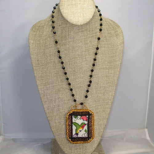 Caethes X-stitch Bead Embroidery Pendant Necklace front relevant view