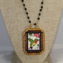 Load image into Gallery viewer, Caethes X-stitch Bead Embroidery Pendant Necklace front close view
