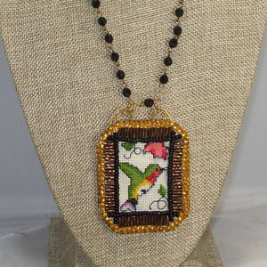 Caethes X-stitch Bead Embroidery Pendant Necklace front close view