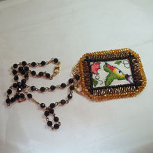 Load image into Gallery viewer, Caethes X-stitch Bead Embroidery Pendant Necklace flat view
