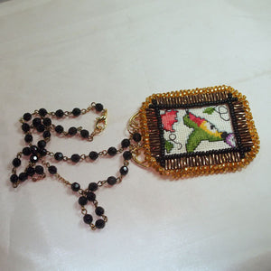 Caethes X-stitch Bead Embroidery Pendant Necklace flat view