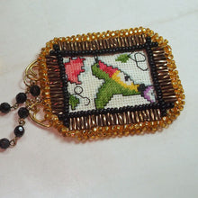 Load image into Gallery viewer, Caethes X-stitch Bead Embroidery Pendant Necklace close flat view