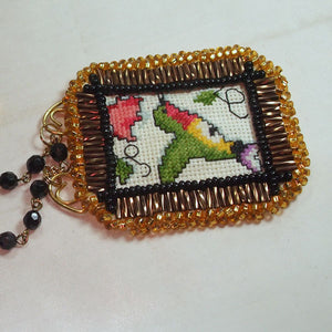Caethes X-stitch Bead Embroidery Pendant Necklace close flat view
