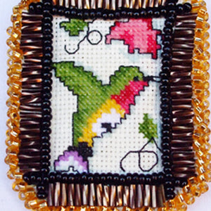 Caethes X-stitch Bead Embroidery Pendant Necklace X-stitch view
