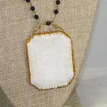 Load image into Gallery viewer, Caethes X-stitch Bead Embroidery Pendant Necklace back close view