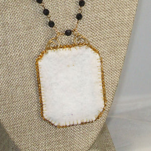 Caethes X-stitch Bead Embroidery Pendant Necklace back close view