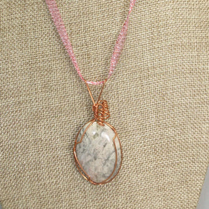 Fairlee Picture Stone Cabochon Pendant Necklace close view