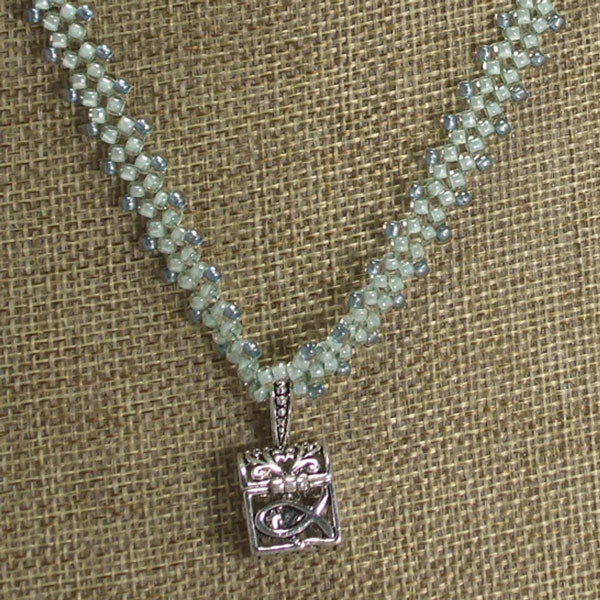 Habiba Charm Beaded Pendant Necklace front close view