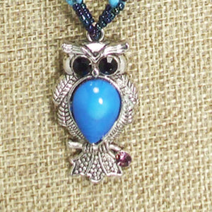 Kacy Owl Charm Beaded Pendant Necklace blow up view