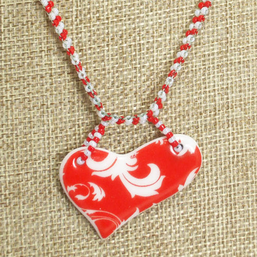 Jaamini Beaded Heart Charm Pendant Necklace front close view