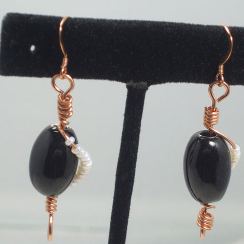 Xenosa Wire Beaded Earrings close view