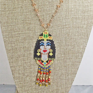 Mackenzie Egyptian Beaded Pendant Necklace close up front view
